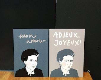 Simone de Beauvoir set (Illustrated Literary Postcards & Prints: Writers)