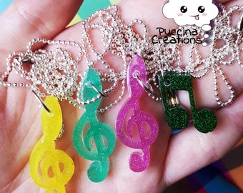 Resin Music Necklace (musical resin necklace)