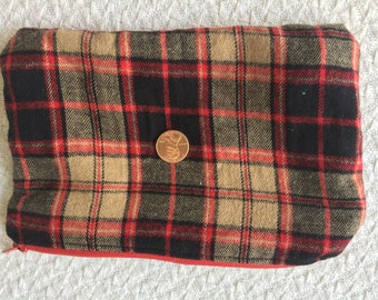 Plaid Flannel Zipper Pouch lined with White Pine