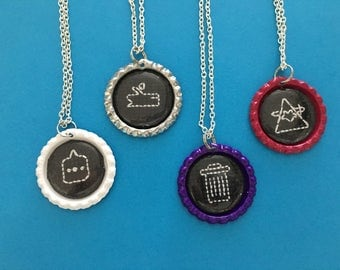 Night in the Woods - Cross Stitch Necklace