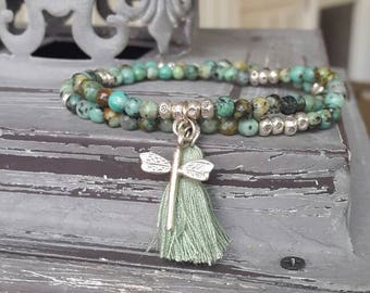African turquoise and Karen Hill Tribes double-breasted with tassel and Dragonfly bracelet