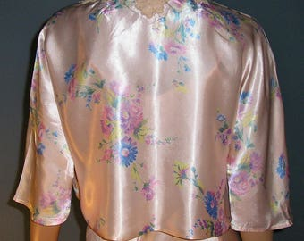 Vintage 40s, floral, peachy, pink, satin, lace, jacket, bed jacket, 3/4 bell sleeves, size small