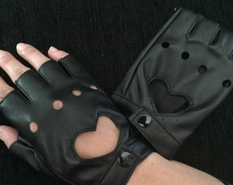 Women's punk heart hollow gloves  , fingerless faux leather Mittens, Biker gloves, punk gloves