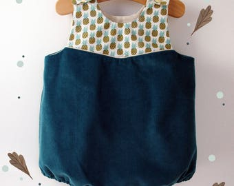 Pineapple corduroy and cotton, fully lined romper
