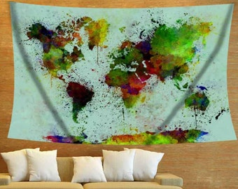 Watercolor Map Turquoise Map Colorful Map Tapestry Map World Map Tapestry