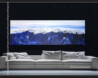 Special price XXL Mountain Panorama blue white Original from Gallery art painting