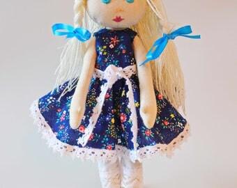 handmade doll, curly hair doll, cloth doll, rag doll, peach, gift for a girl, dolls, personalised doll, birthday gift