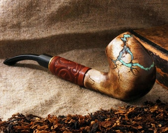 "Long Tobacco Smoking pipe ""Lightning"" with gemstone Turquoise -Exclusive Wood Pipe -Smoking bowl - Wood carved smoking pipes- Christmas gift"