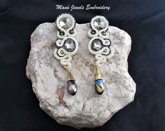 soutache earrings sand black gold, soutache, soutache jewelry, handmade earrings, long earrings, soutache jewels, soutache embroidery