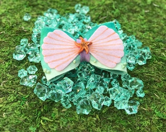Ariel the little mermaid under the sea clam shell ride themed hair bow *2 WEEK PRODUCTION time!*