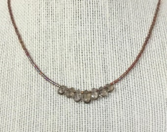 Smoky Quartz Teardrop and Amber Seed Bead Necklace