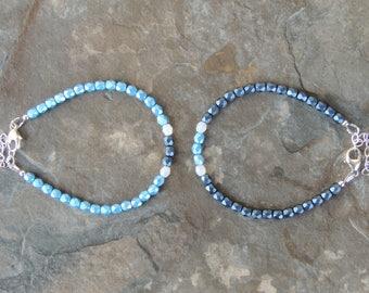 Simple Bracelet for Women, Dainty Delicate Bracelet, Blue Bracelet for Her, Minimalist Bracelet, Dainty Bracelet, Everyday Bracelet Gift