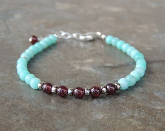Amazonite Bracelet, Dainty Delicate Gemstone Bracelet, Dainty Bracelet, Everyday Bracelet, Light Blue Bracelet, Simple Bracelet for Women