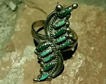 Vintage Native American Indian Zuni Sterling Silver Turquoise Needlepoint Ring Sz 9.5