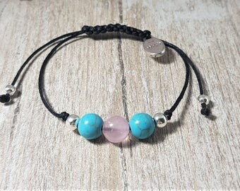 Handmade Fertility Bracelet with Rose Quartz and Turquoise, Healing - TTC  IVF Gift Charm - MORE colours available