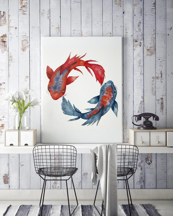 Yin Yang Koi Fish | Framed Canvas | Wall decor | Watercolor painting | Japanese art | Red and Blue artwork | Meditation art | ZuskaArt