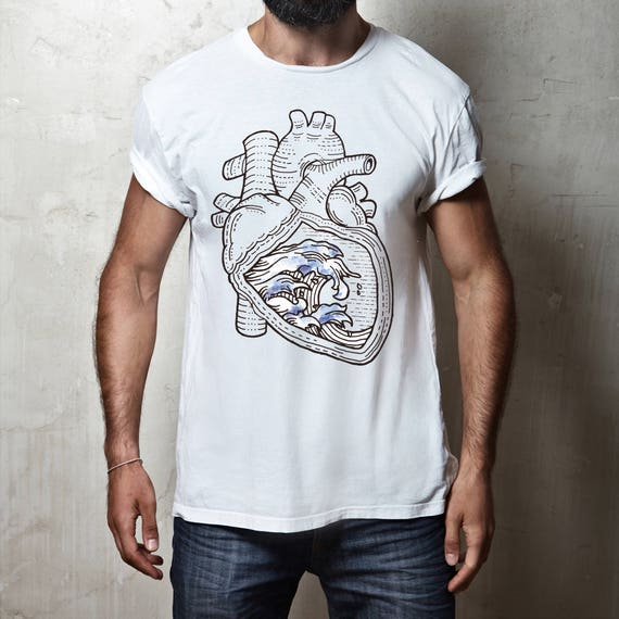 Ocean heart  | Unisex T-shirt | Apparel | Women / Men Clothing | Personalized T-shirt | Surfing tee | Graphic Tee | Sea love | ZuskaArt