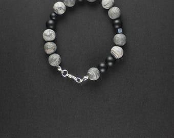 Natural polished matte stone bracelet. Natural stone bracelet. Shungite bracelet. Hematite bracelet. Shungite Hematite bracelet.Gift for HIM