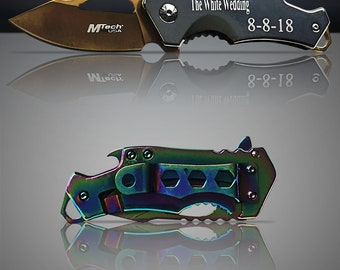9 Engraved Tactical knifes - 9 Personalized Engraved gifts - 9 Custom Knife with can opener & Belt clip - 9 Groomsman and Usher Gifts
