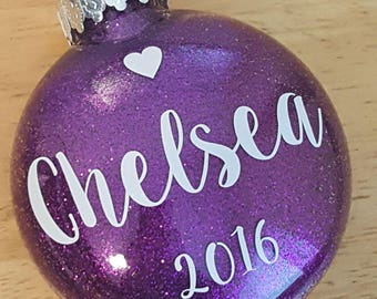 3 inch Glitter Personalized Christmas Ornament