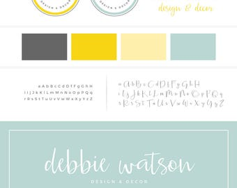 Premade Brand Set, Turquoise Branding Package, Yellow Brand Design, Logo Set, Logo Design, Premade Logo, Photography Logo, Business Logo