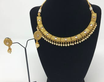 Indian Jewelry Set - Indian Bridal Jewelry - Bollywood Jewelry Set - Pakistani Jewelry Set - Indian Earrings - Kundan Jewelry - Moti Set -