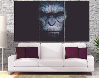 Planet of the Apes Canvas Print,  Minimal Movie Poster, Film Poster Art Print, Movie Home Decor, Extra Large Canvas Print, Gorilla Art LC097