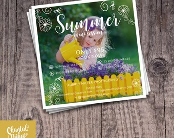 Photography Summer Mini Session Template for Photographers PSD Flat card - Photoshop template 5x5 flat square card - CNPMS1702