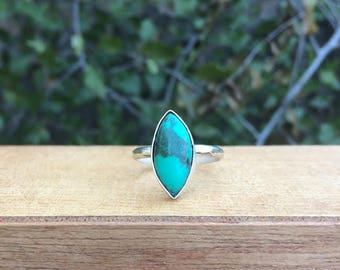 Sterling Silver Turquoise Ring / Sterling Silver Ring Size 8 / Marquise Turquoise Ring / Large Turquoise Ring / Diamond Turquoise Ring