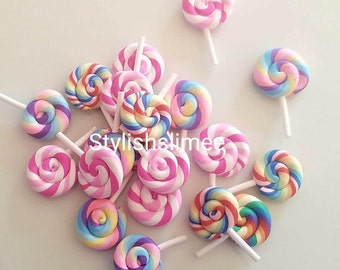 SHIPS TODAY! Fake Lollipops - Resin Cabochons - 2 pc set