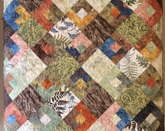 Modern, Earth Tones, Nature Quilt, Twin Bed Size, Woodland Cabin, Mountain Lodge,Nature Inspired, Rustic, Ferns, Forest, Fireside Quilt