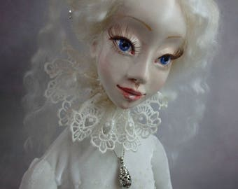 OOAK art doll Boudoir doll Handmade Doll Collectible Doll Unique beautiful doll Home decor Princess in a white dress Gift for a girl .