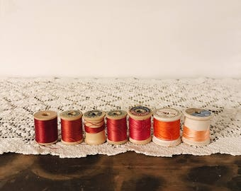 Mixed Lot of Antique Thread on Wooden Spools - Shades of Red