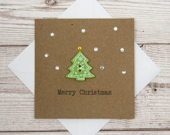 Cute Sparkly Christmas Card, Christmas Tree Card, Snow Card, Merry Christmas, 4x4 Brown Card, Button Card, Happy Christmas, Quirky XMas Card