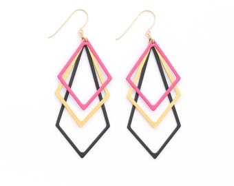 Chandelier earrings, Elegant Modern Earrings, Festival Earrings, Funky Earrings, Urban Jewelry, Art Deco Earrings, Black-Gold-Pink Earrings