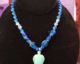 Handwoven sea turtle necklace