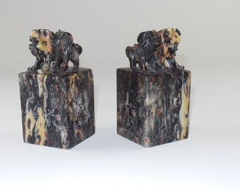 Antique Carved Soapstone Dogs Bookends | Antique Canine Bookend | Classic Bookcase Decor