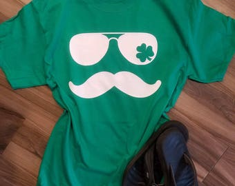 Mustache St Patrick's Day Shirt // St Patrick's Day Tee // Cool St Paddy's Day Tee // Shamrock Shirt // St Patty's Day // Green Tee