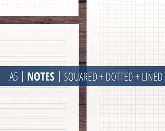 Notes Page Printable A5 (Squared + Dotted + Lined) / Notes Template / Filofax Kikki Planner Printable Insert / Minimalist, Clean / Download