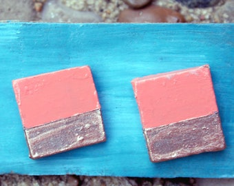 Coral and Rose Gold Geometric Studs