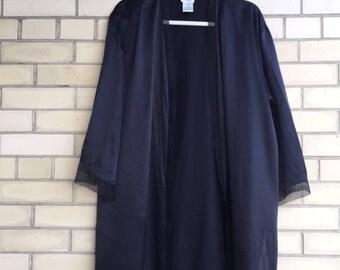 Silk kimono black robe