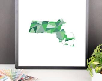 MASSACHUSETTS State Pattern Map Print, Massachusetts Poster, Massachusetts Wall Art, Massachusetts Art, Massachusetts Gift, Massachusetts