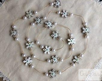 Christmas garland - snowflake, wood decor