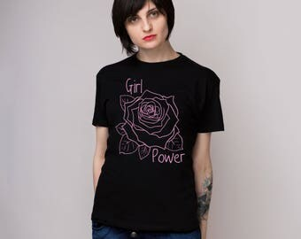 Girl power shirt  Graphic tee Feminist shirt Floral shirt Floral shirt Flower shirt gift ideas Cute shirt Graphic shirt Gift for her GO1066