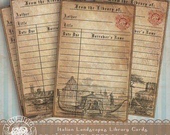 Old Italy Library Card, Printable Journal Vintage Library Card, Aged Paper Digital Collage Sheet, Italy Collage Sheet