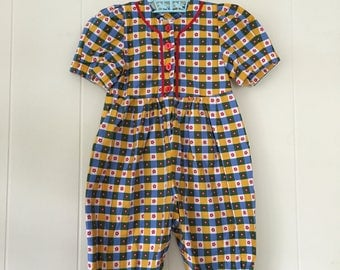 1990's hanna andersson checkered floral jumpsuit - size 80 / 2t