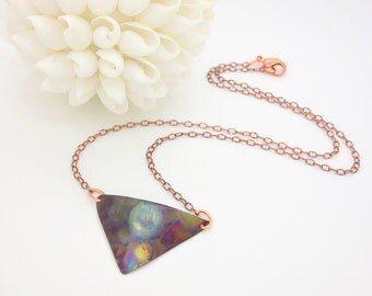 Triangle Necklace Flame Painted Copper Pendant Copper Necklace Torch Painted Copper Necklace Fire Torched Copper Flame Necklace