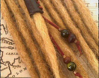 S/M - Unique hand crafted, up-cycled genuine leather dread/hair cuff/bead with beaded tails.