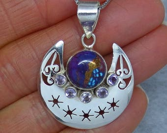 Mojave Purple Copper Turquoise & Amethyst Pendant or Necklace - Sterling Silver - Moon and Star - SA161358