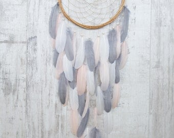 Blush Pink and Gray Feather Dream Catcher - Color Choice - Boho Girls Boys DreamCatcher Wall Hanging Baby Tribal Crib Baby Feathers New Baby